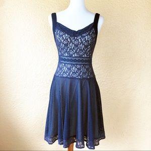 Altar'd State Navy Blue Mesh Lace Dress A-line
